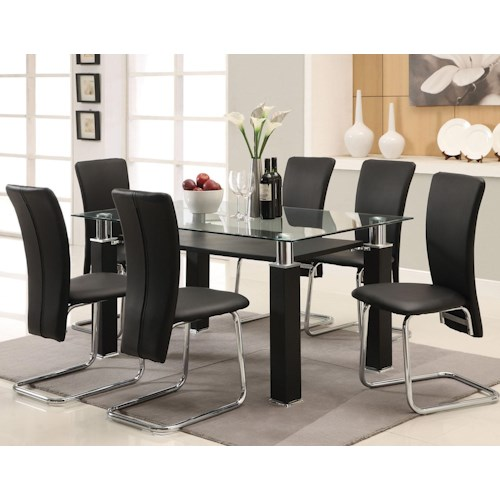 Acme Furniture Riggan Contemporary Black Leg Table with Black Vinyl Chairs Set