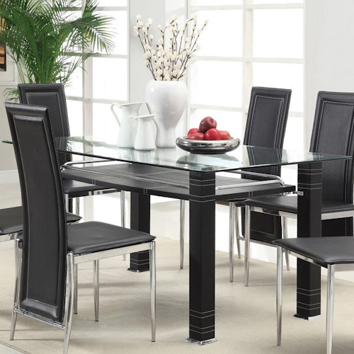 Acme Furniture Riggan Contemporary Dining Table with Beveled Glass Top and Black Legs