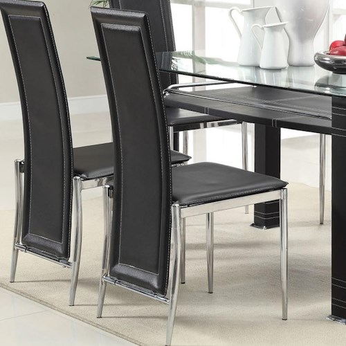 Acme Furniture Riggan Black Vinyl Side Chair with Tapered Metal Legs