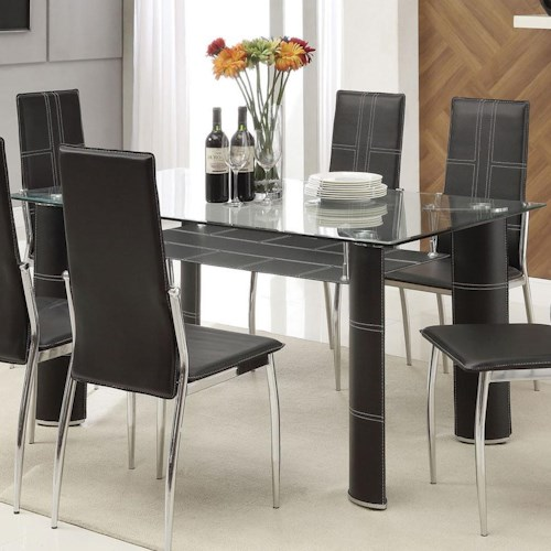 Acme Furniture Riggan Contemporary Black Leg Dining Table with Beveled Glass Top and Vinyl Shelf