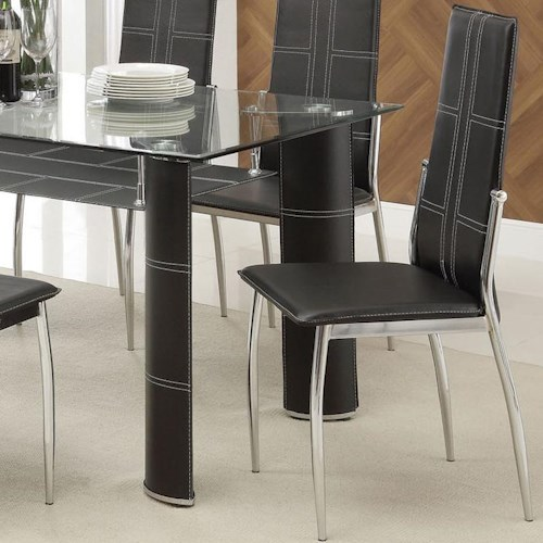 Acme Furniture Riggan Black Vinyl Side Chair with Contrast Stitching