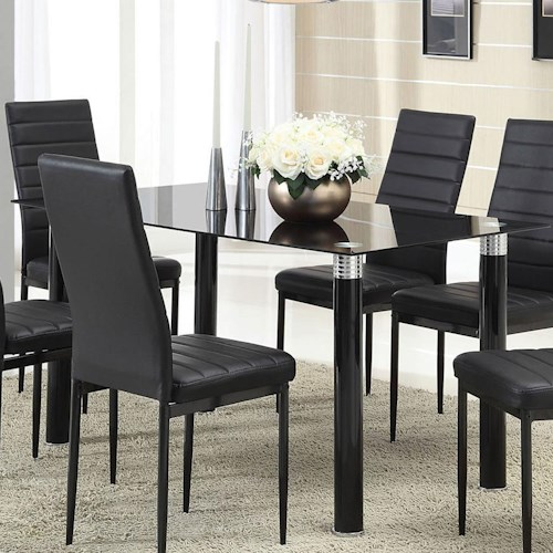 Acme Furniture Riggan Contemporary Dining Table with Black Glass Top