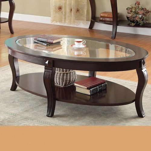 Acme Furniture Riley Transitional Oval Coffee Table W/Glass