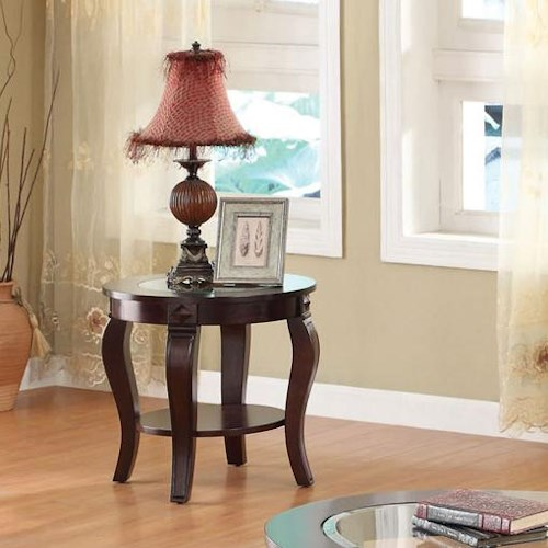 Acme Furniture Riley Transitional Round End Table W/Glass