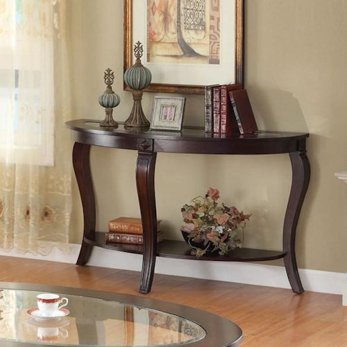 Acme Furniture Riley Transitional Oval Sofa Table W/Glass