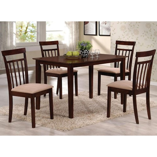 Acme Furniture Samuel 5 Piece Casual Dining Set with Upholstered Seats