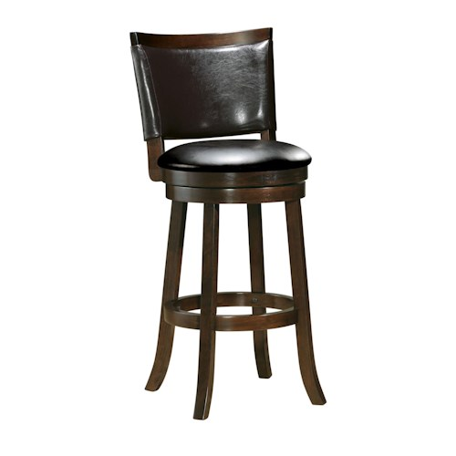 Acme Furniture Tabib Contemporary Swivel Bar Stool with Faux Leather Back Cushion