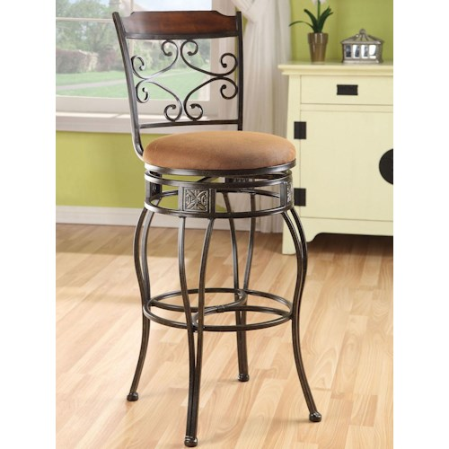 Acme Furniture Tavio Traditional Swivel Bar Chair with Scroll Back and Wood Trim