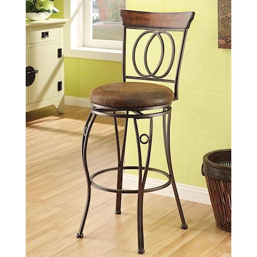 Acme Furniture Tavio Traditional Swivel Bar Chair with Lattice Back and Wood Trim