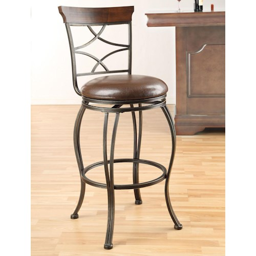 Acme Furniture Tavio Traditional Swivel Bar Chair with Lattice Back and Wood Trim