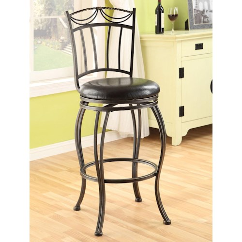 Acme Furniture Tavio Traditional Swivel Bar Chair with Black Faux Leather Seat