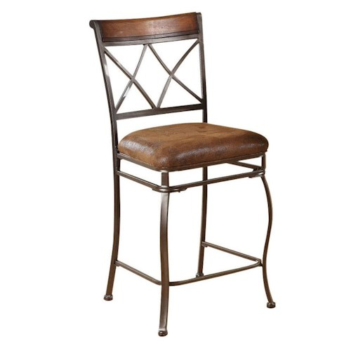 Acme Furniture Tavio Traditional Counter Height Chair with Crossed Lattice Back