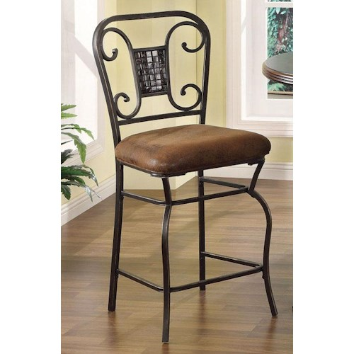 Acme Furniture Tavio Traditional Counter Height Chair with Glass Mosaic on Back