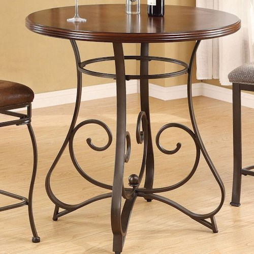 Acme Furniture Tavio Traditional Bar Table with Scrolled Metal Base