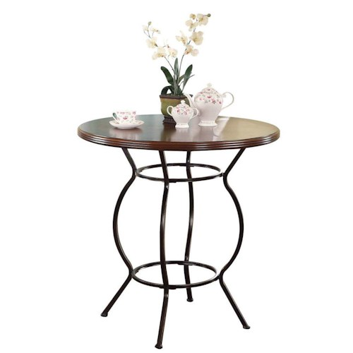 Acme Furniture Tavio Traditional Bar Table with Serpentine Curved Metal Legs