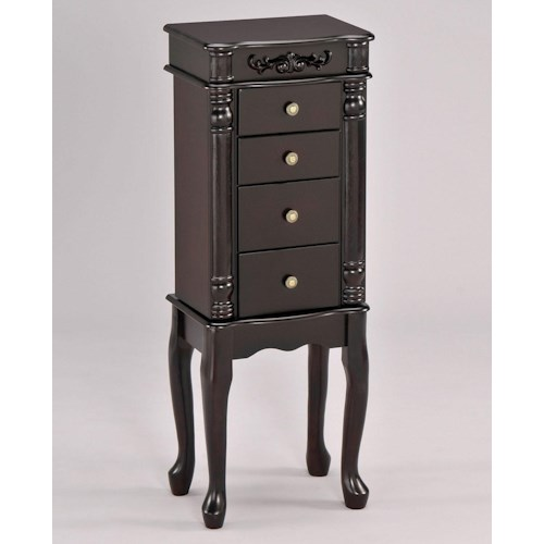 Acme Furniture Tiana Traditional Jewelry Armoire with Mirror and Jewelry Hooks