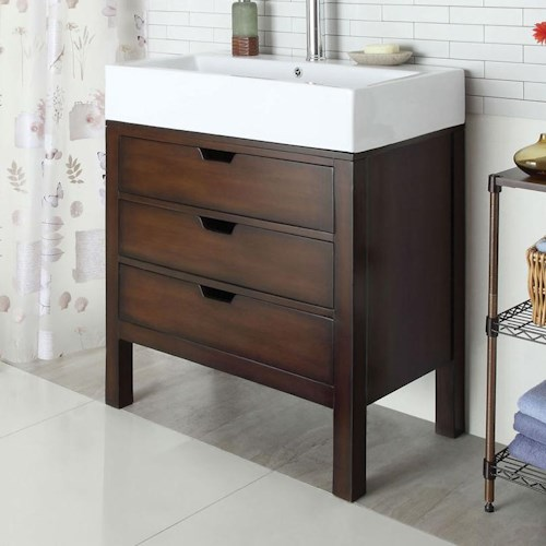 Acme Furniture Tillie Contemporary Sink with White Ceramic Top and Three Drawers