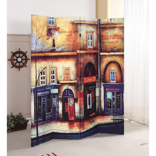 Acme Furniture Trudy Scenery 4-Panel Wooden Screen