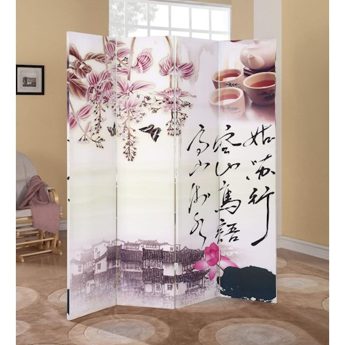 Acme Furniture Trudy Chinese 4-Panel Wooden Screen