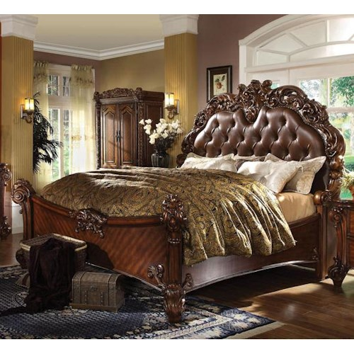 Acme Furniture Vendome Queen Panel Bed with Upholstered Headboard