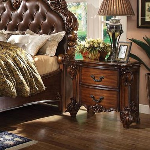 Acme Furniture Vendome 2 Drawer Nightstand with Carved Details