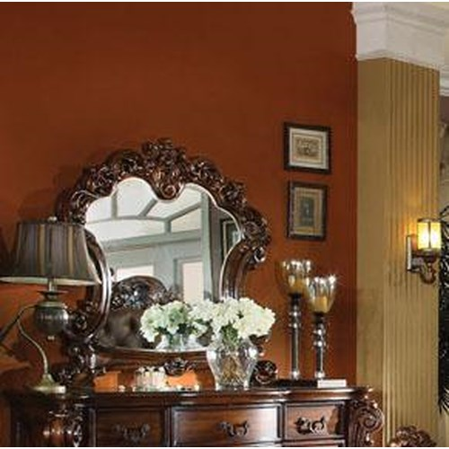 Acme Furniture Vendome Dresser Mirror with Curved Frame and Wood Carved Detail