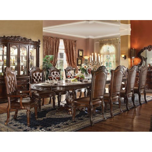 Acme Furniture Vendome 11 Piece Double Pedestal Table and Chairs Set