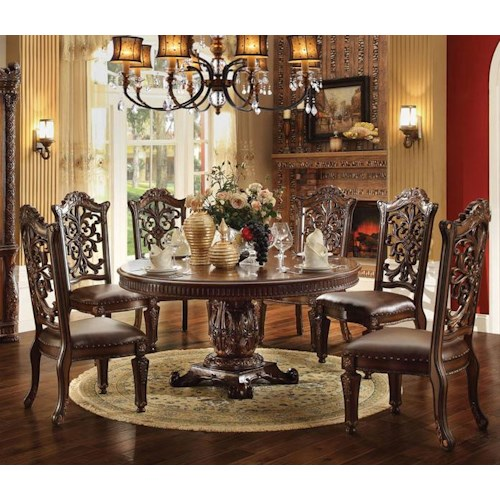 Acme Furniture Vendome 7 Piece Round Single Pedestal Table and Chairs Set