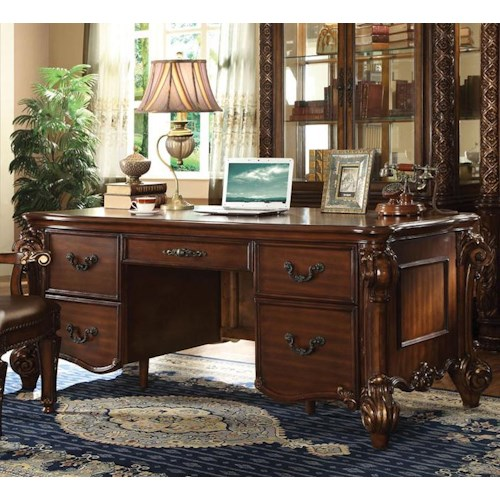 Acme Furniture Vendome Double Pedestal Desk with 5 Drawers
