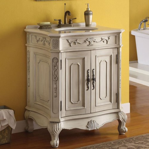 Acme Furniture Verena White Sink with Marble Top and 2 Doors