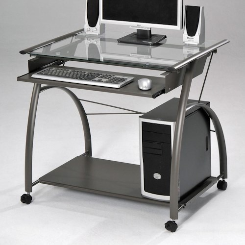 Acme Furniture Vincent Silver Computer Desk with Keyboard Tray and Wheels