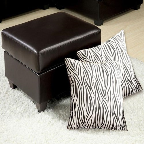 Acme Furniture Vogue Espresso Bycast Ottoman With 2 Zebra Pillows