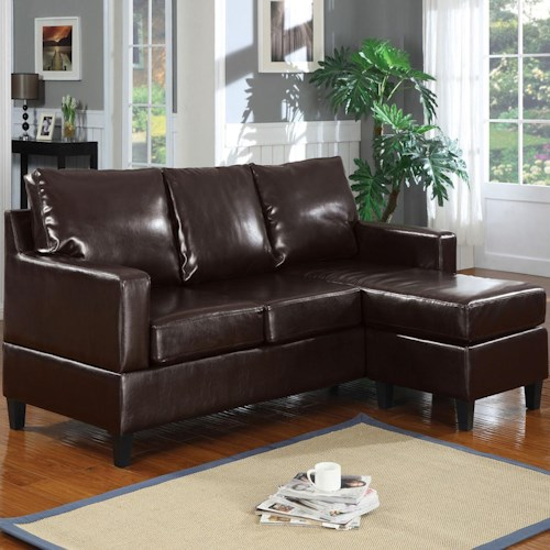 Acme Furniture Vogue Espresso Bonded Leather Chaise Sectional