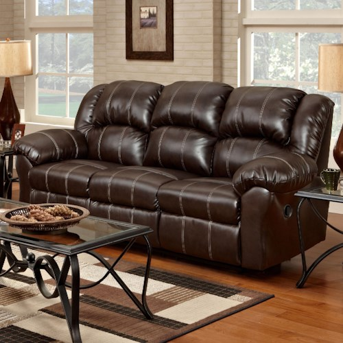 Affordable Furniture 1000 Reclining Sofa with Pub-Back & Saddle Stitching