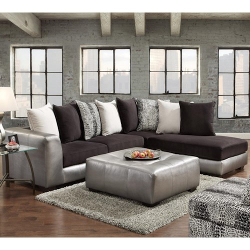 Afforable Sectional Couches: Affordable Furniture 6350 Two Piece Sectional With Chaise