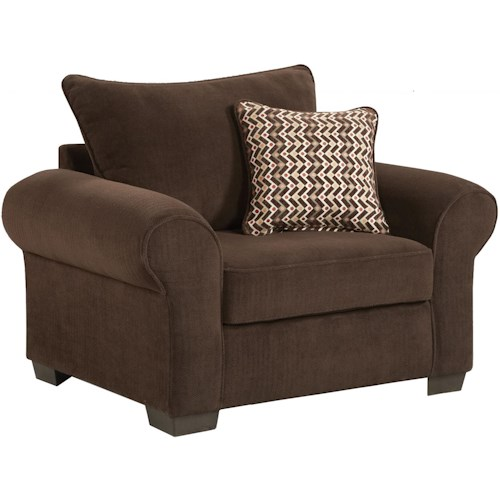 Affordable Furniture 7300 Casual Chair and a Half with Rolled Arms