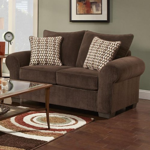 Affordable Furniture 7300 Contemporary Loveseat with Large Rolled Arms