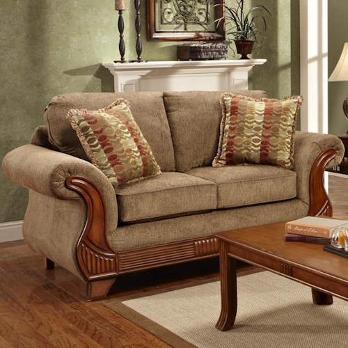 Affordable Furniture 8400 Traditional Loveseat with Rolled Exposed Wood Arms