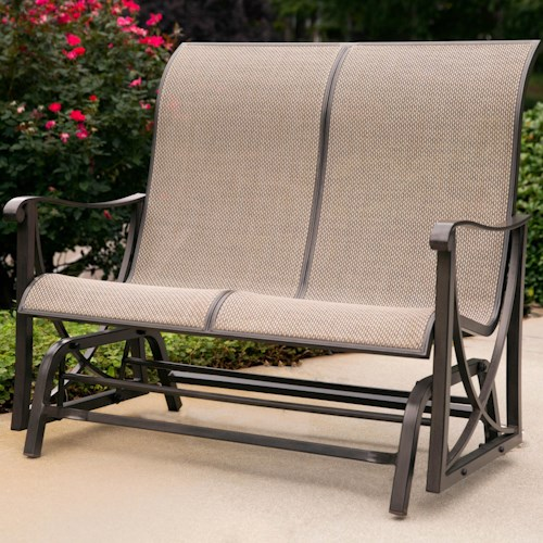 Agio Davenport Double Glider Loveseat with Curved Track Arms