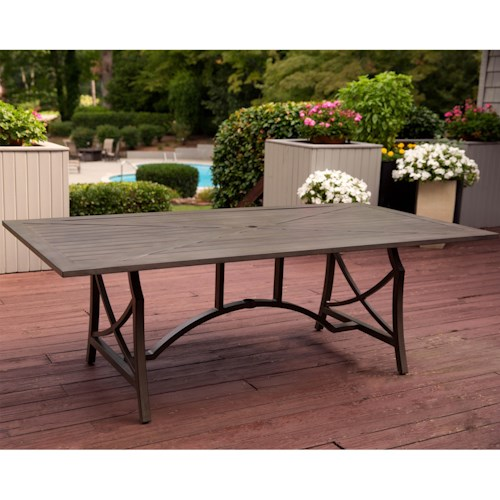 Agio Davenport Dining Table with Trestle Base  and Slat top