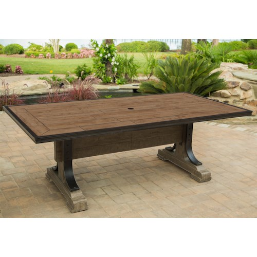 Agio Franklin Porcelain-Top Dining Table with Double Pedestal Base
