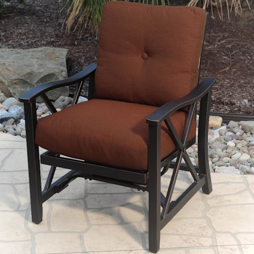 Agio Haywood Outdoor Stationary Spring Chair with X-Casting and Upholstered Seat and Back Cushions