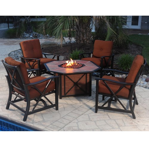 Agio Haywood 5-Piece Outdoor Fire Pit Set with Aluminum Stationary Spring Chairs