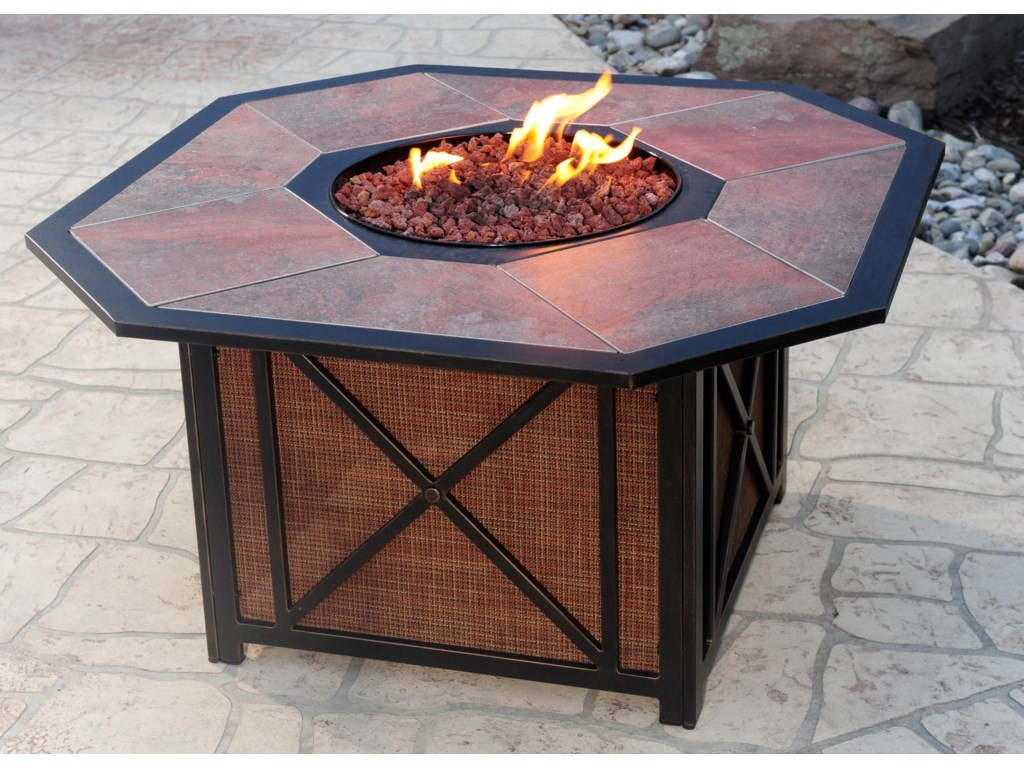 Aluminum Gas Fire Pit with Inlaid Tile Top