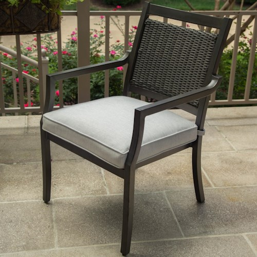 Agio Maddox Woven Dining Arm Chair with Track Arms