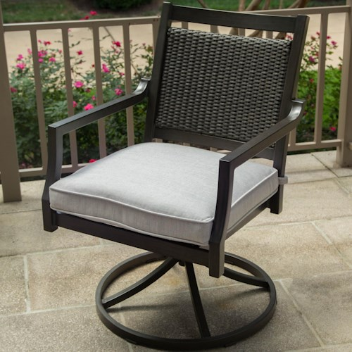 Agio Maddox Woven Swivel Rocker Dining Chair with Track Arms