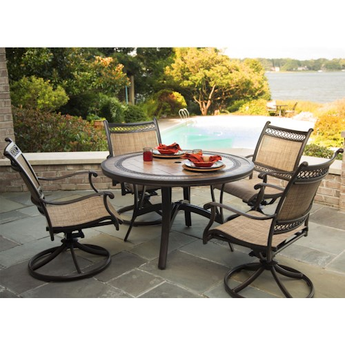 Agio Maguire Round Outdoor Dining Set w/ Swivel Chairs