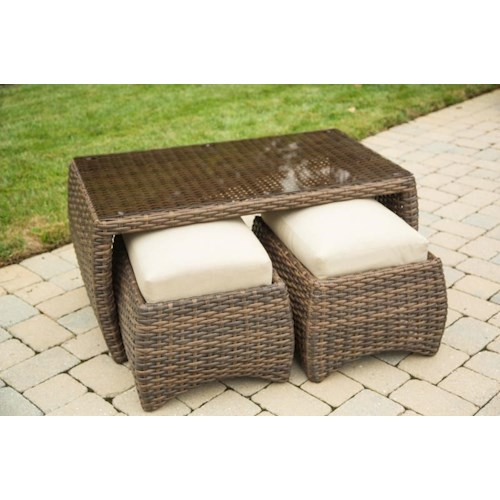 Morris Home Furnishings Tahiti Cocktail Table and 2 Ottomans