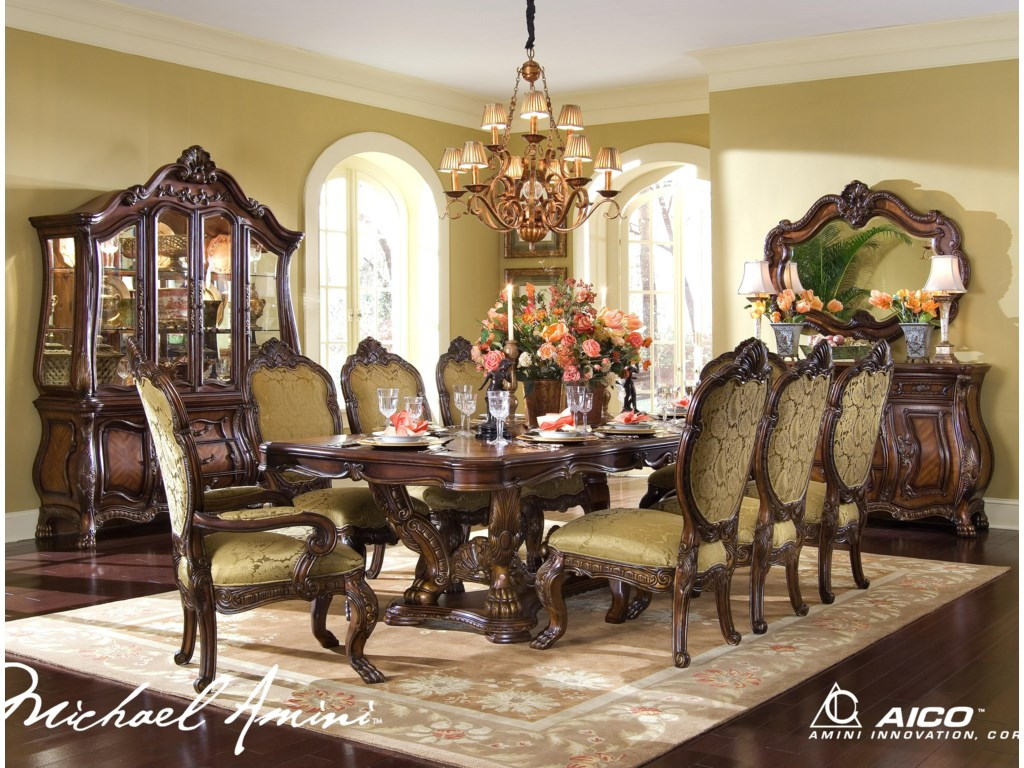 Michael Amini Chateau Beauvais  Piece Ornate Formal Dining Room - Formal dining room set