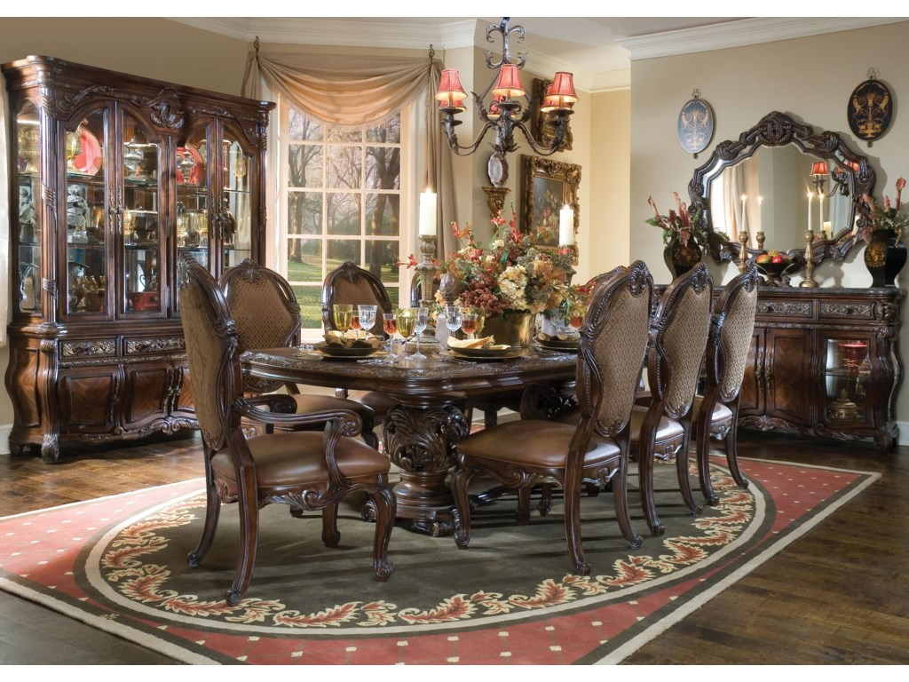 Shown with Dining Table, Side Chair, China Hutch, Sideboard and Sideboard Mirror